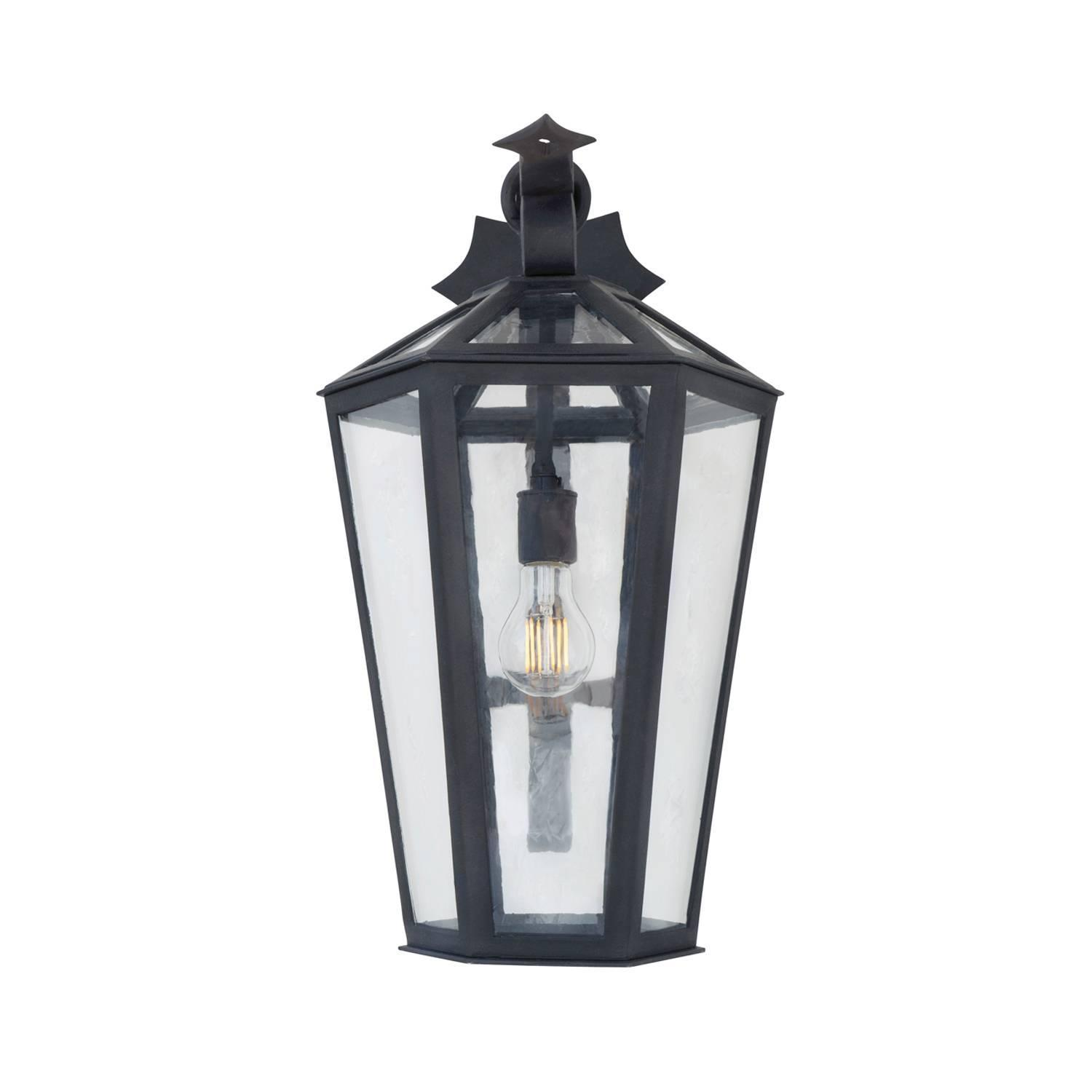 New Large Wrought Iron Arm Mount Exterior Outdoor Lantern By Anthony Grumbine For Sale At 1stdibs