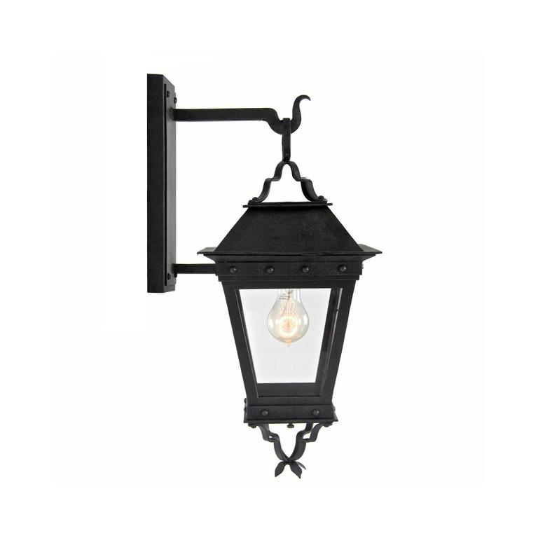 Gothic Revival New Spanish Wrought Iron Exterior Arm Mount Wall Lantern by Britt Jewett For Sale