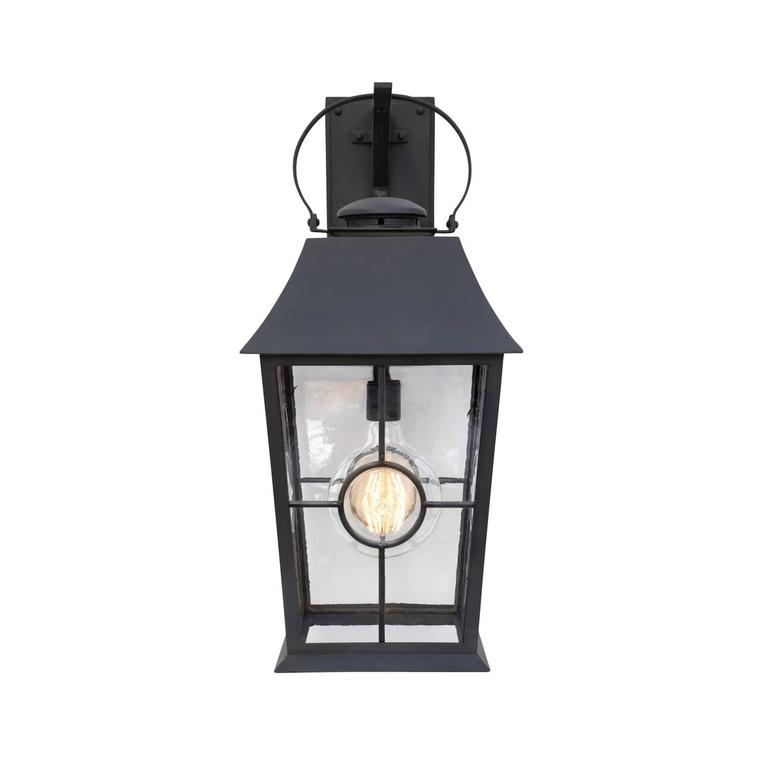 Max wattage: 60, one standard socket. Lantern shown in Grey finish (photo 4) with German New Antique glass (photo 5) and four centered rondels [Finish/Glass Samples are available. Please contact us to request.] Backplate dimensions (inches): 5 W x