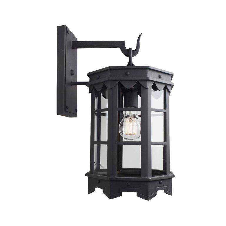 Spanish Colonial Detailed Spanish Wrought Iron Exterior Outdoor Arm Mount Lantern by Britt Jewett For Sale