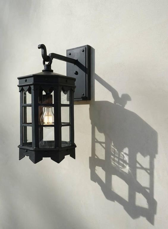 Welded Detailed Spanish Wrought Iron Exterior Outdoor Arm Mount Lantern by Britt Jewett For Sale