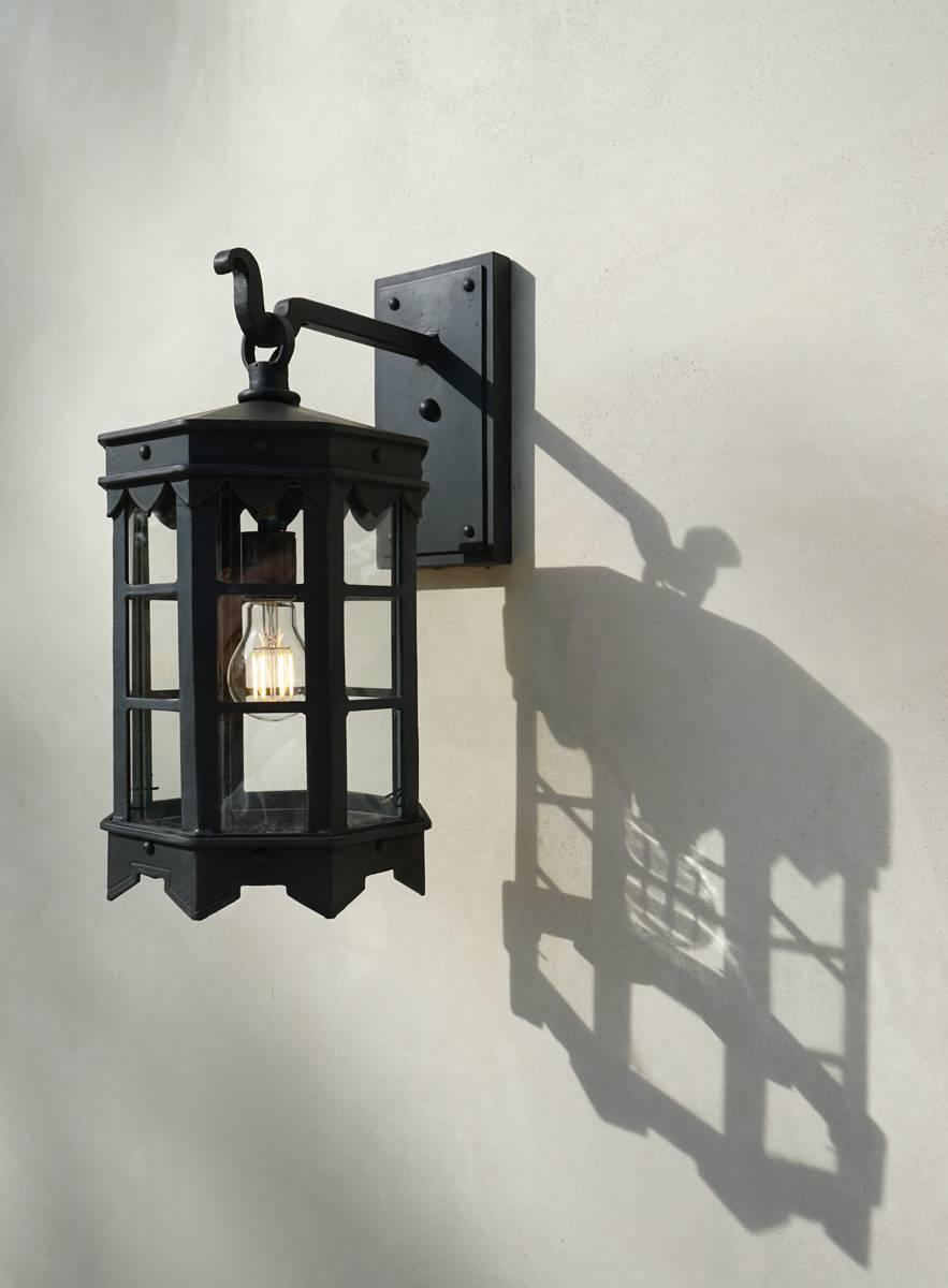 Detailed Spanish Wrought Iron Exterior Outdoor Arm Mount Lantern By Britt Jewett For Sale At 1stdibs