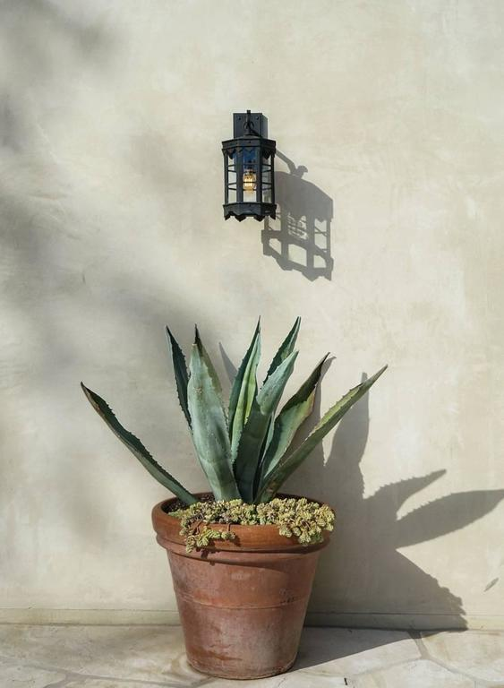Detailed Spanish Wrought Iron Exterior Outdoor Arm Mount Lantern by Britt Jewett In New Condition For Sale In Santa Barbara, CA