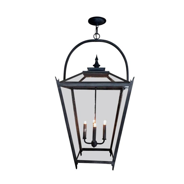 Large Classic Wrought Iron Interior Exterior Pendant Lantern By Kirsten Maltas For Sale At 1stdibs