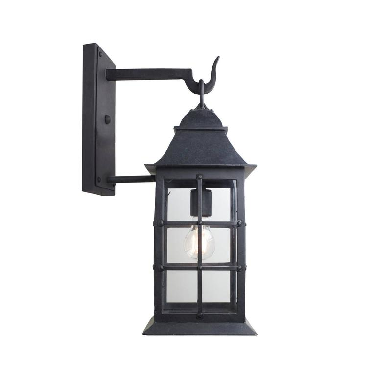 A classic form, with riveted, caged frame, graceful sloped hood, and footed base.  At home in an array of settings, from beach house to mountain chalet.  Max Wattage: 60, 1 standard socket. Lantern shown in Grey finish (Image #4) with German new