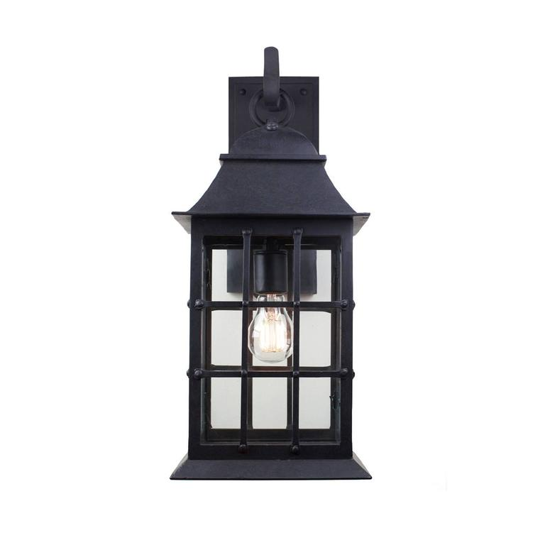 American Craftsman Exterior Wrought Iron Wall Lantern with Nautical Inspirations by Britt Jewett For Sale
