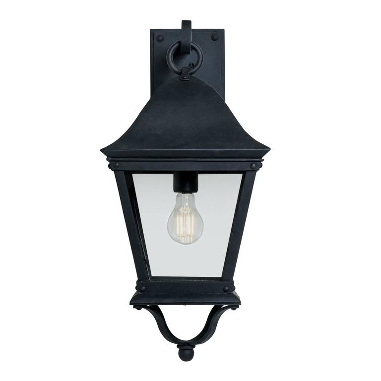 Metal Outdoor Wall Sconces : Classic Spanish Colonial Exterior, Outdoor Wrought Iron Wall Sconce Lantern For Sale at 1stdibs