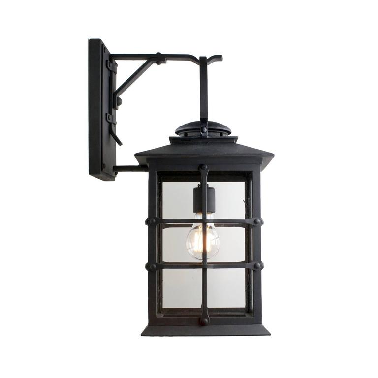 American Colonial Mission Style Exterior Wrought Iron Wall Mount Lantern  For Sale