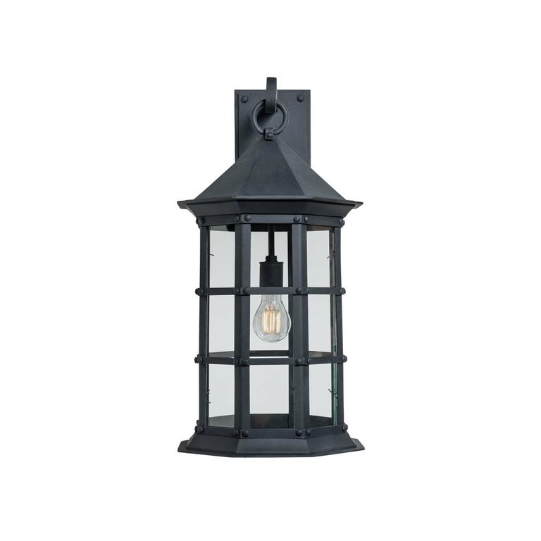 Colonial Revival Colonial Mission Revival Wrought Iron Exterior Wall Sconce, with Classic Details For Sale