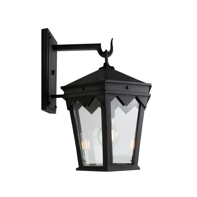Spanish Colonial Vintage Inspired Wrought Iron Exterior Lantern Wall Mount, Spanish Influence For Sale