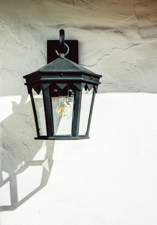 American Vintage Inspired Wrought Iron Exterior Lantern Wall Mount, Spanish Influence For Sale