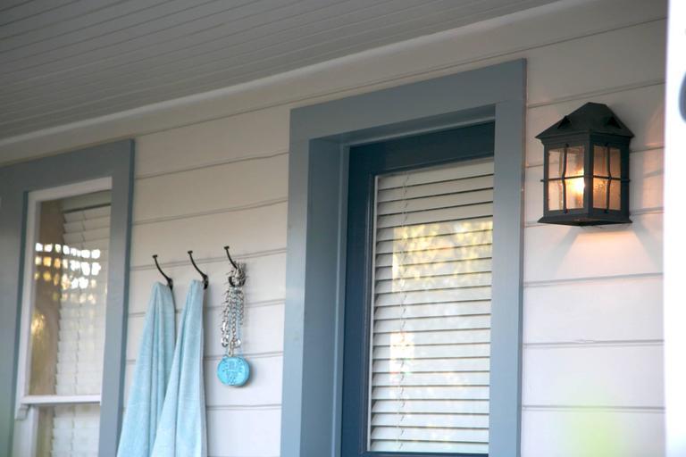 American Craftsman Coastal Exterior Wrought Iron Flush Wall Mount Lantern - Cage Detail For Sale
