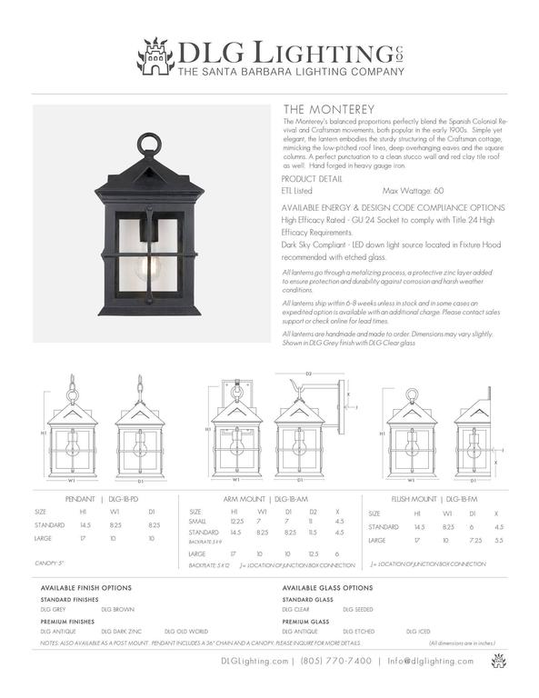 Craftsman Coastal Exterior Wrought Iron Flush Wall Mount Lantern - Cage Detail In New Condition For Sale In Santa Barbara, CA