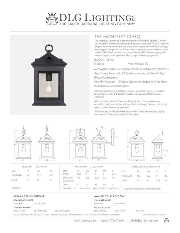 American Craftsman Coastal Exterior Wrought Iron Flush Wall Mount Lantern For Sale