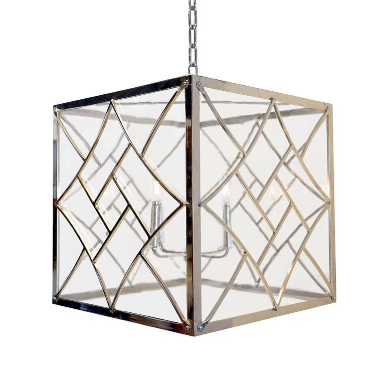 American Art Deco Style Pendant, Polished Nickel and Antique Style Glass For Sale