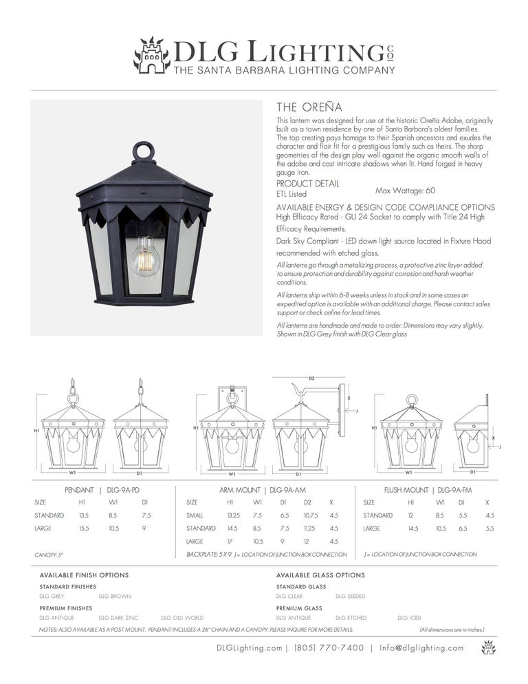 American Vintage Inspired Wrought Iron Exterior Lantern Pendant, Spanish Influence For Sale