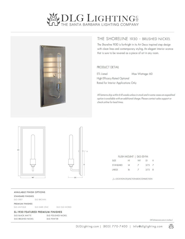 Forged Contemporary, Minimal Interior Flat Wall Sconce Lantern in Brushed Nickel For Sale