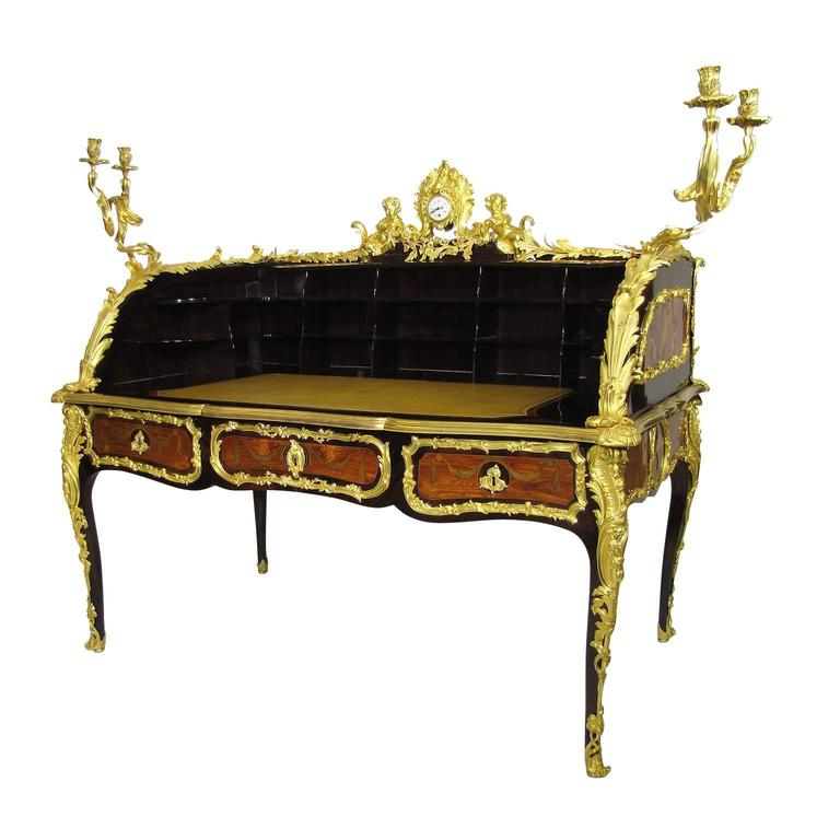 French 19th-Century Louis XV Style Figural Gilt-Bronze Mounted Bureau-Plat Desk