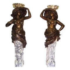 Pair of French 19th Century Patinated Bronze Figural Torchere Sculptures