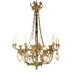 French 19th-20th Century Empire Revival Style Gilt Bronze 24-Light Chandelier