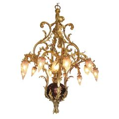 French Belle Époque 19th/20th Century Nine-Light Gilt Bronze Chandelier