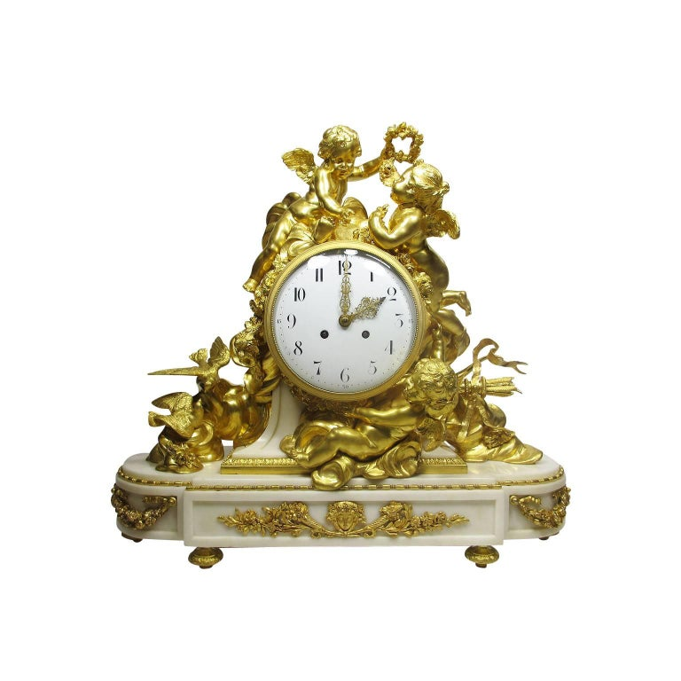 Louis XV Style 19th-20th Century Figural Gilt Bronze White Marble Mantel Clock For Sale