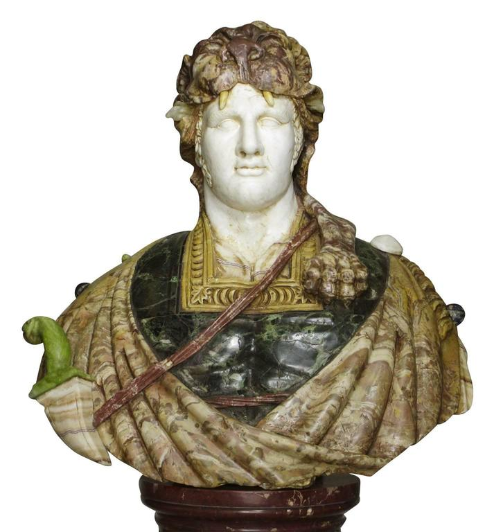 Lifesize Italian 19th Century Specimen Marble Bust of a Greco-Roman Warrior For Sale