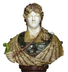 Lifesize Italian 19th Century Specimen Marble Bust of a Greco-Roman Warrior