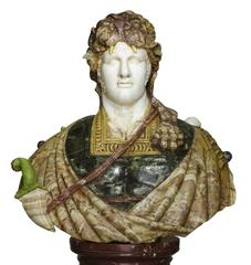 Lifesize Italian 19th Century Specimen Marble Bust of a Greco-Roman Warrior