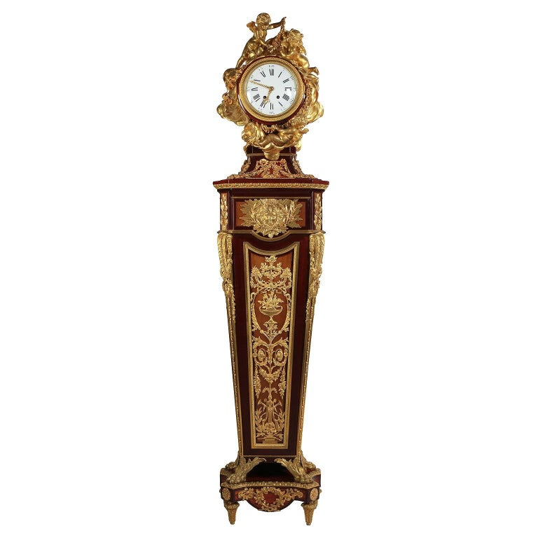 French 19th Century Louis XVI Style Ormolu-Mounted Grandfather - Tall Case Clock For Sale