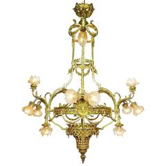Palatial French 19th/20th Century Louis XIV Style Gilt-Bronze Orante Chandelier