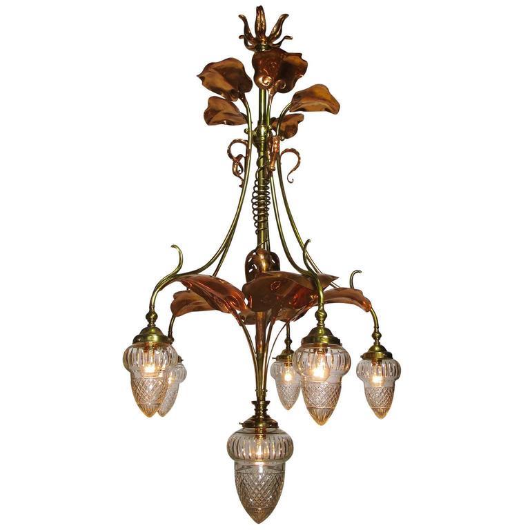 Art Nouveau Arts Crafts Movement 6 Light Chandeldeier Prob By W A S Benson