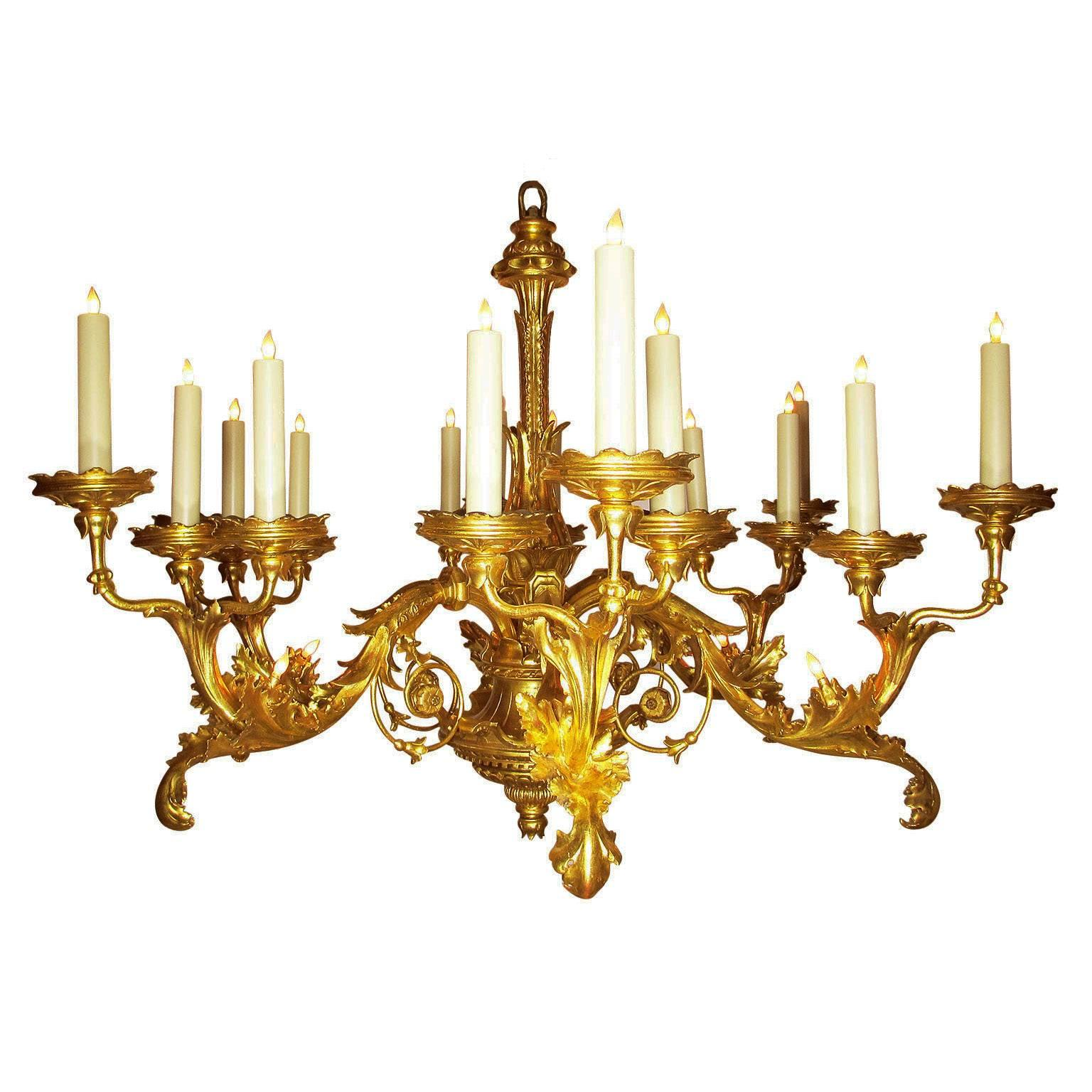 Palatial Italian 19th Century Florentine Rococo Giltwood Carved Chandelier