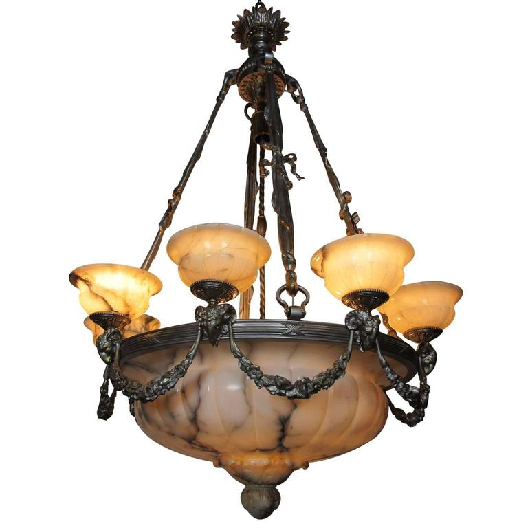 Rare Early French 20th Century Art Deco Bronze and Carved Alabaster Chandelier For Sale