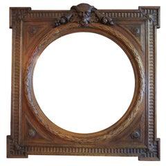 Italian Renaissance Revival Style 19th Century Carved Oak Figural Mirror Frame