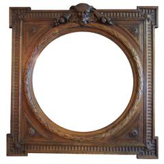 Italian Renaissance Revival Style 19th Century Carved Oak Figural Mirror Frame