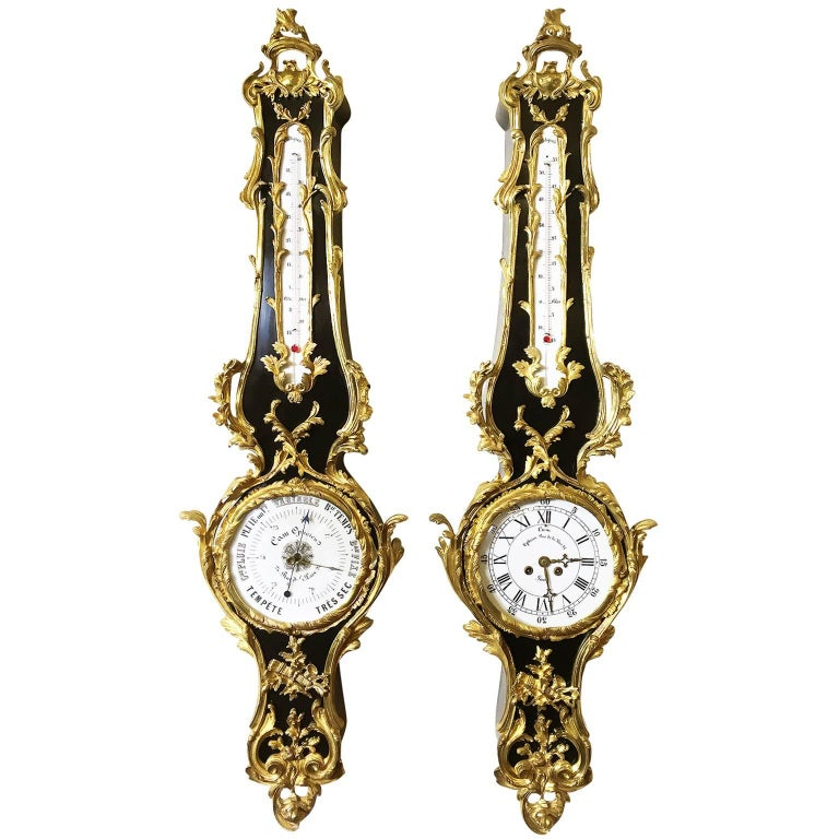 Pair of French 19th Century Louis XV Style Ebonized Cartel Clock and Barometer For Sale
