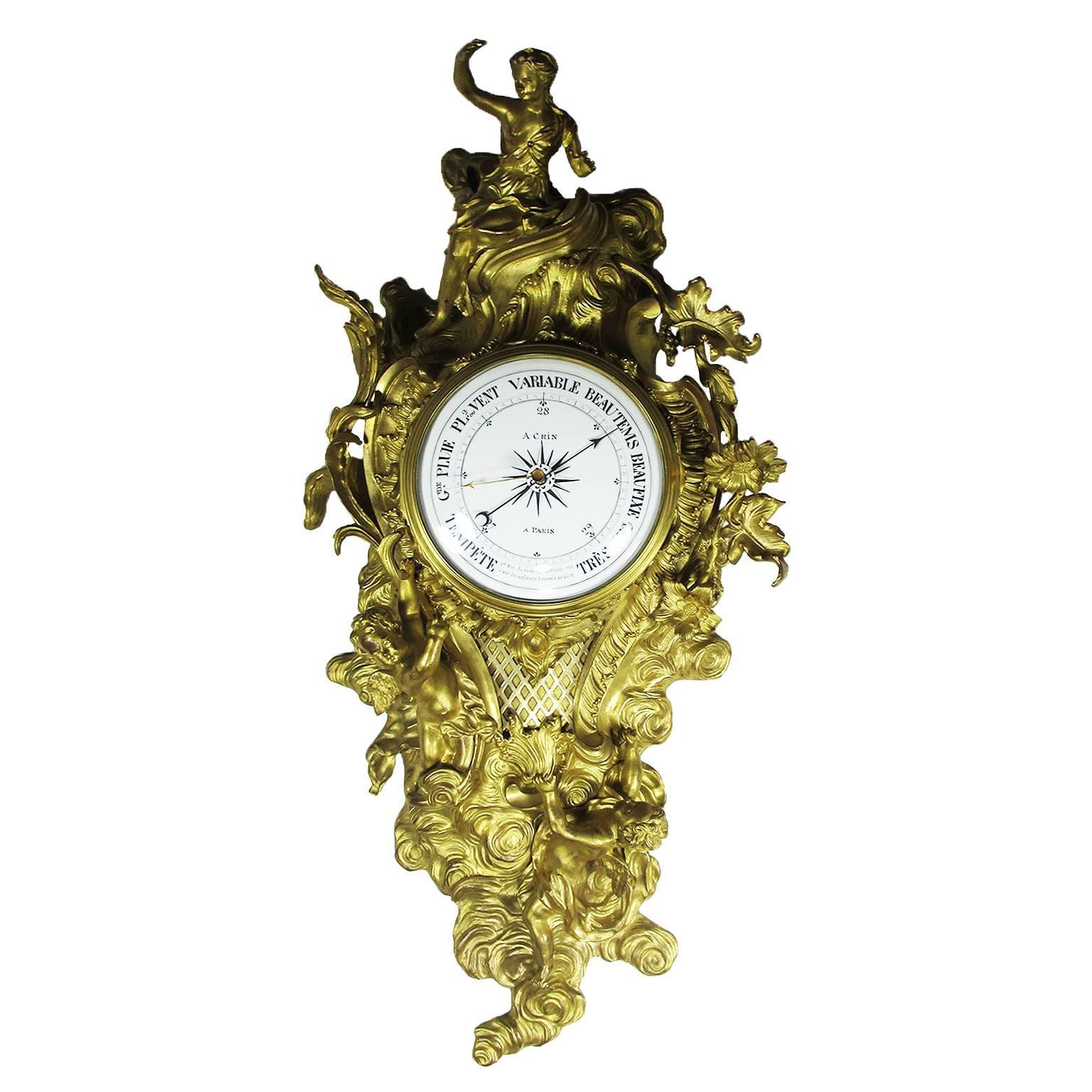 19th Century Louis XV Style Gilt-Bronze Cartel Barometer by A. Crin, a Paris