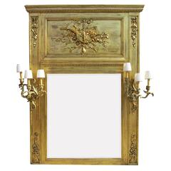 French 19th-20th Century Louis XV Style Giltwood Carved Trumeau Mirror Frame