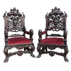 Pair of Italian 19th Century Renaissance Style Carved Figural Throne Armchairs