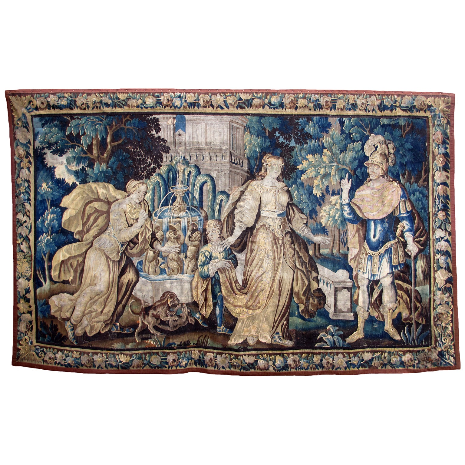 """Large Flemish 17th-18th Century Baroque Figural Tapestry """"A Royal Courtship"""""""
