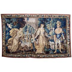 "Large Flemish 17th-18th Century Baroque Figural Tapestry ""A Royal Courtship"""