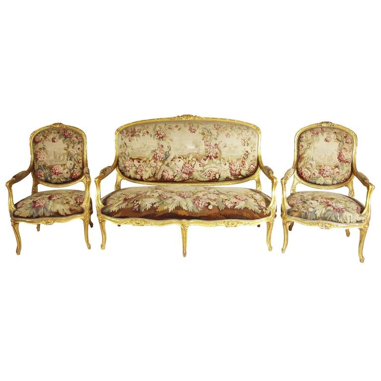 French 19th century louis xv style three piece giltwood for Salon louis xv