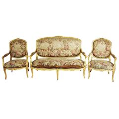 French 19th Century Louis XV Style Three-Piece Giltwood and Aubusson Salon Suite