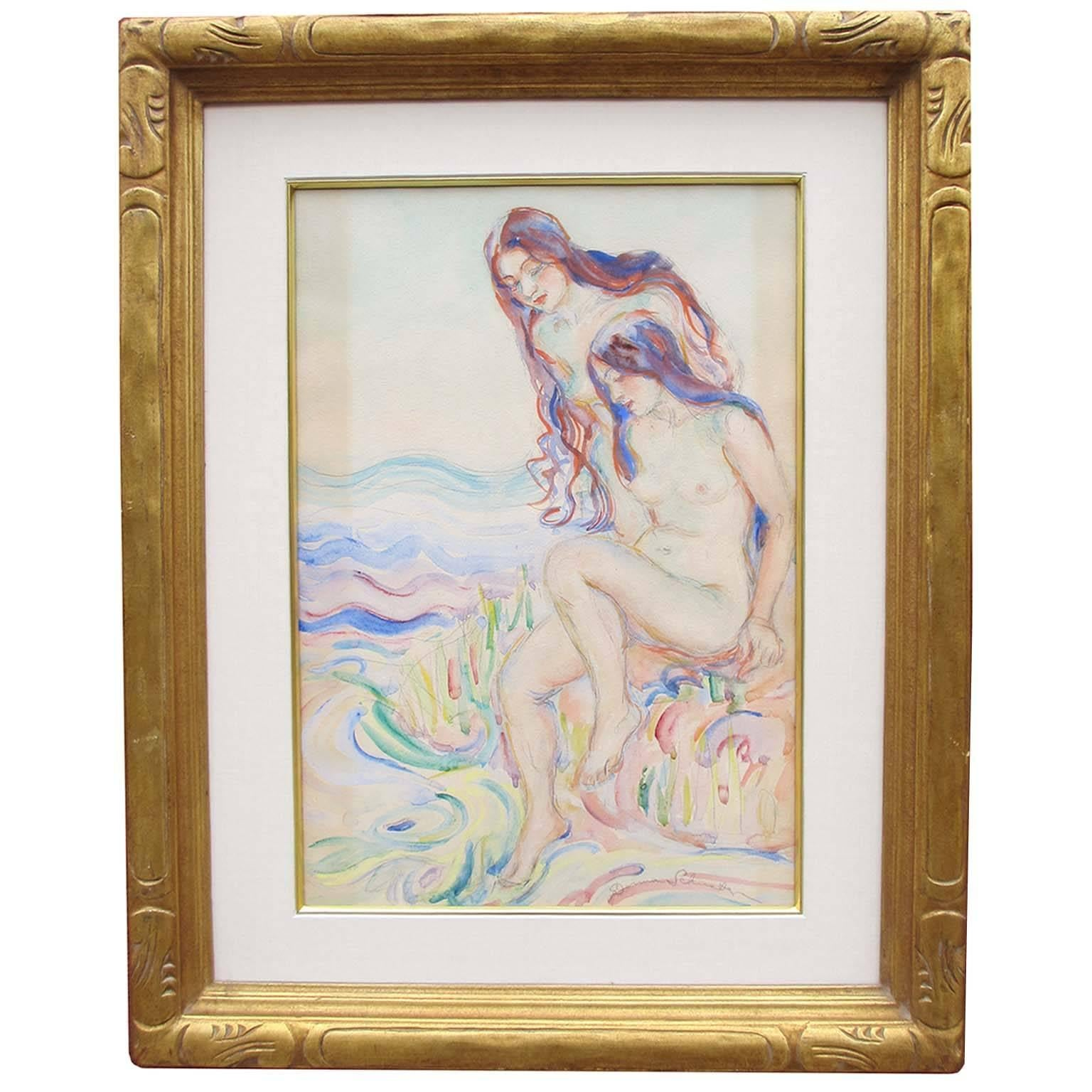 """Donna Schuster """"Nude Bathers"""" Watercolor, Pencil and Gouache"""