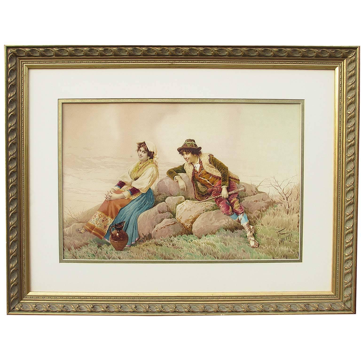 "Filippo Indoni (Italian, 1842-1908) ""The Lover's Courtship"" Watercolor on Paper"