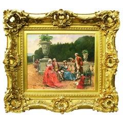 "Henri Victor Lesur 19th Century Oil on Panel ""Park Poetry"""
