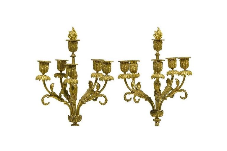 Pair of French 19th Century Louis XV Style Gilt Bronze Candelabra with Cherubs For Sale 1