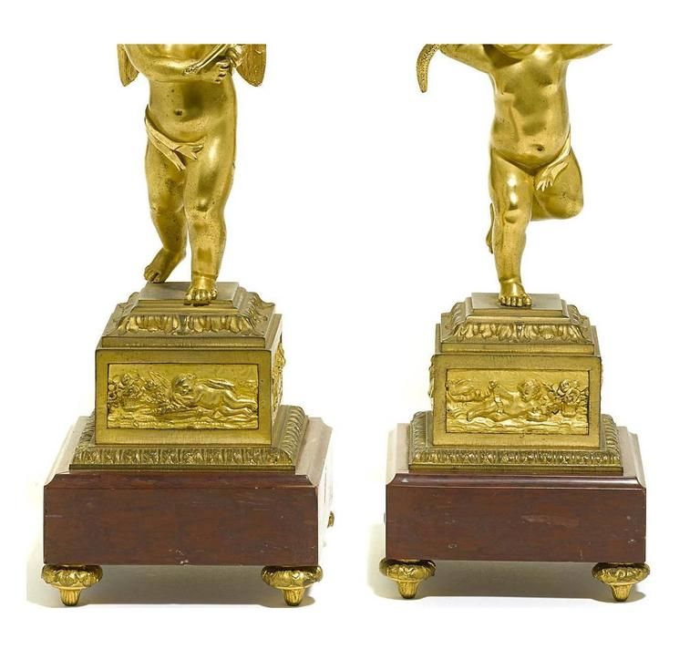 Pair of French 19th Century Louis XV Style Gilt Bronze Candelabra with Cherubs In Excellent Condition For Sale In Los Angeles, CA