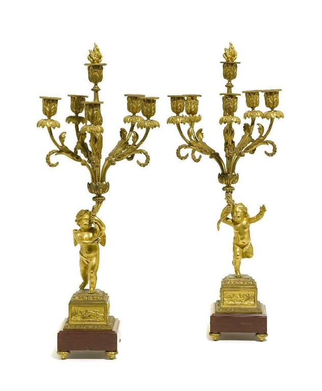 Pair of French 19th Century Louis XV Style Gilt Bronze Candelabra with Cherubs For Sale 2